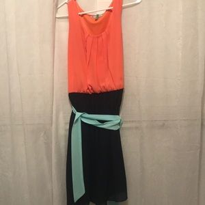 Maurices Coral and navy dress
